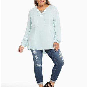 Torrid Challis Lace Up Tunic Mint Blue